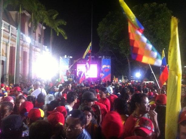 Palacio de Miraflores. Minutos antes de que anunciaran que el ganador era el Presidentes (E) Nicolás Maduro.